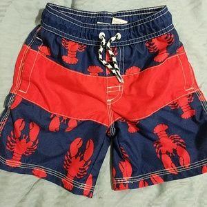Gymboree lobster swim trunks, red, navy boy 4t